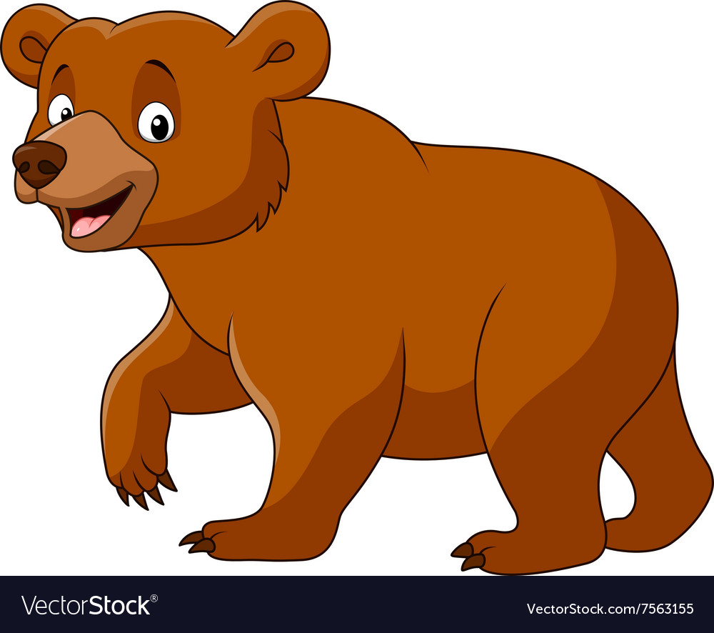 Cute bear walking isolated on white background Vector Image