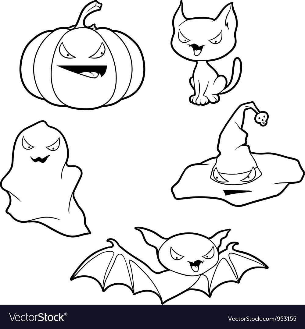 Halloween elements set vector image