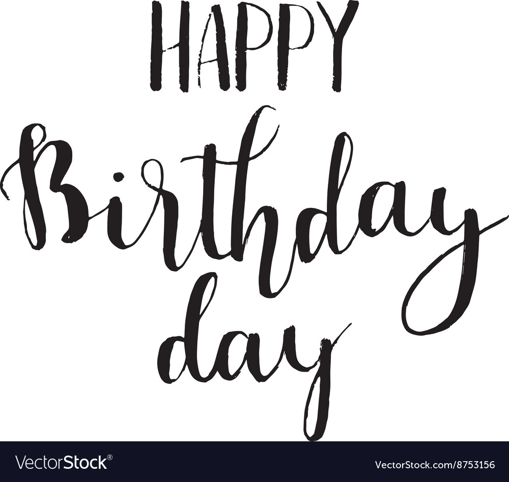 happy birthday hand lettering happy birthday brush script style lettering vector image 11662