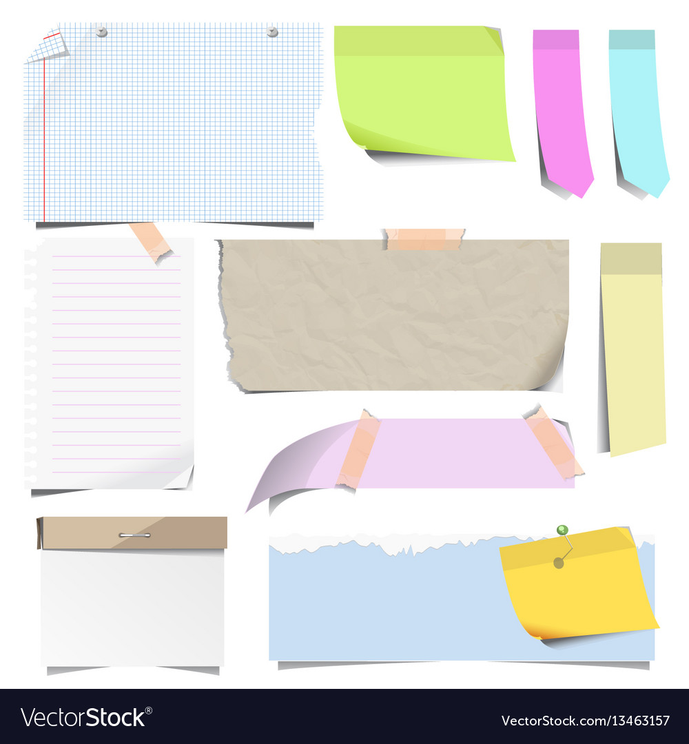 Stickers and sticky memo notes corners vector image