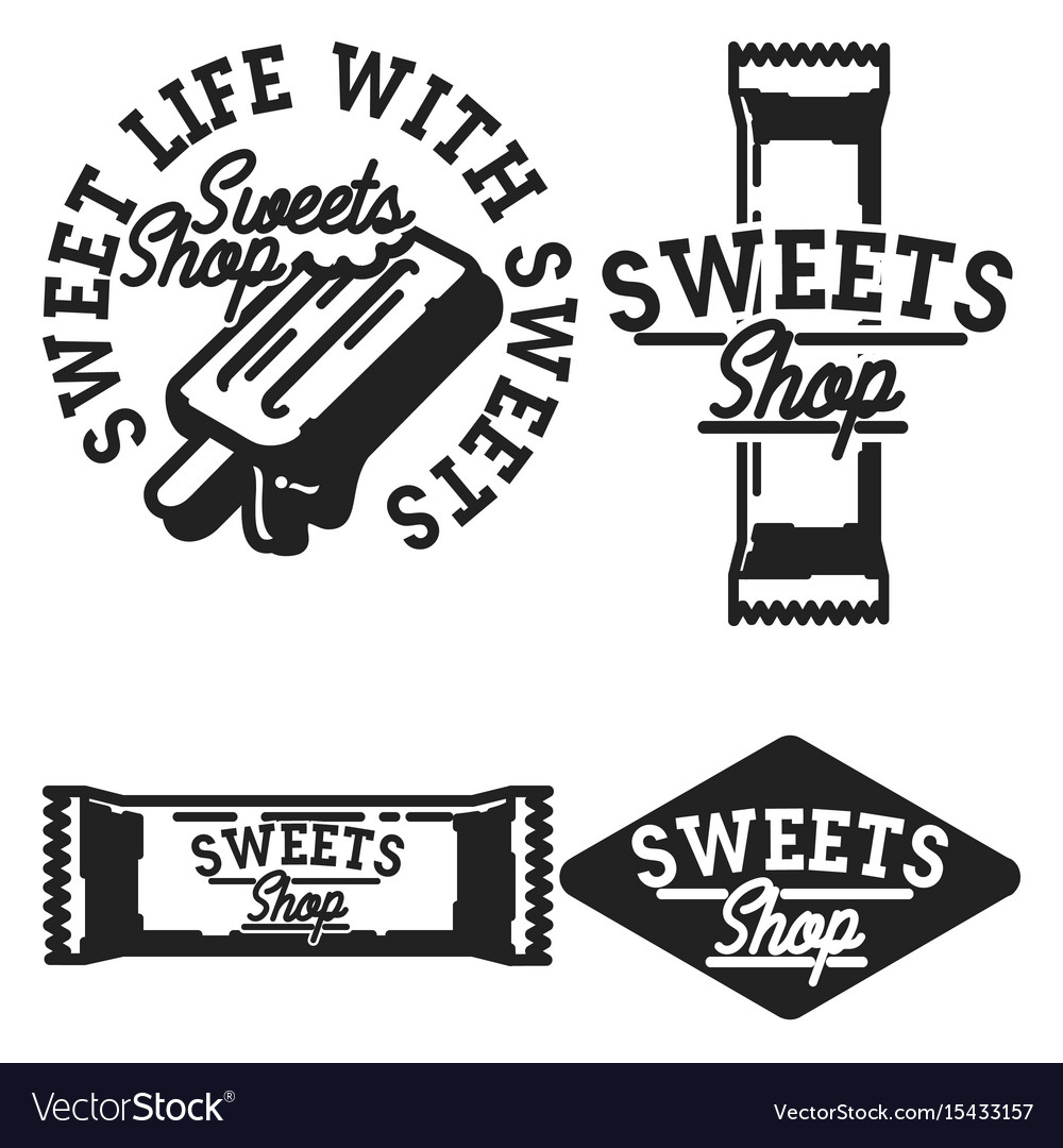Vintage sweets shop emblems vector image