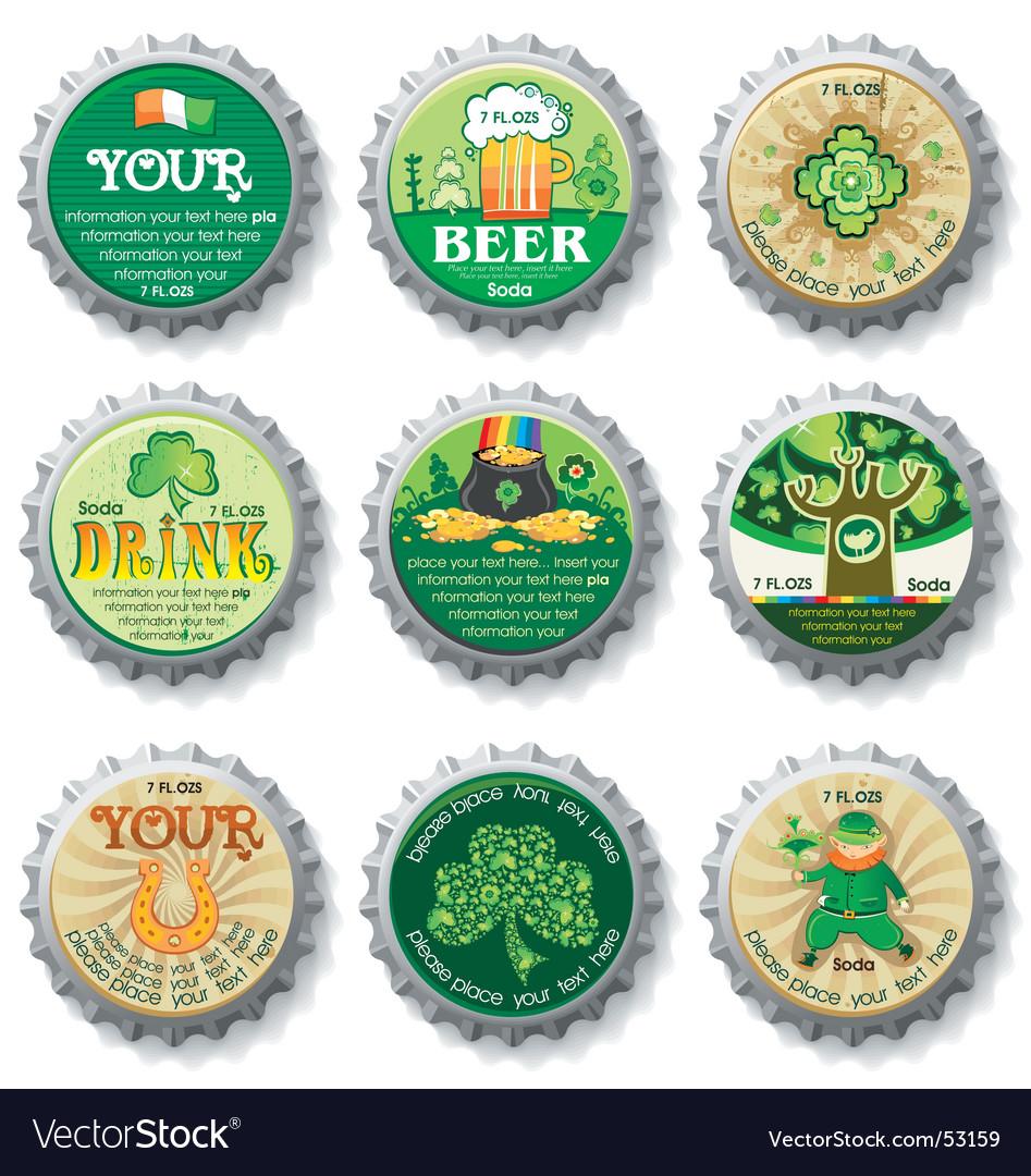 St. Patrick's Day bottle caps Vector Image