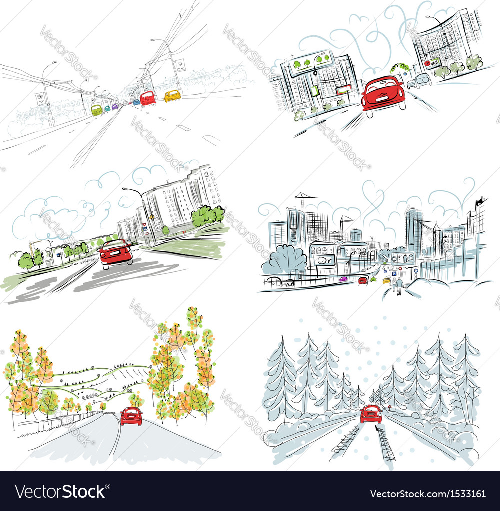 Cars on city road set of hand drawn for your vector image