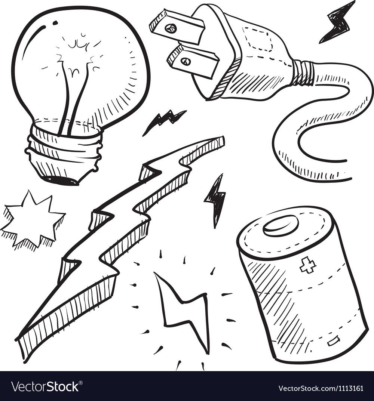 Doodle power electricity lightbulb battery bolt vector image
