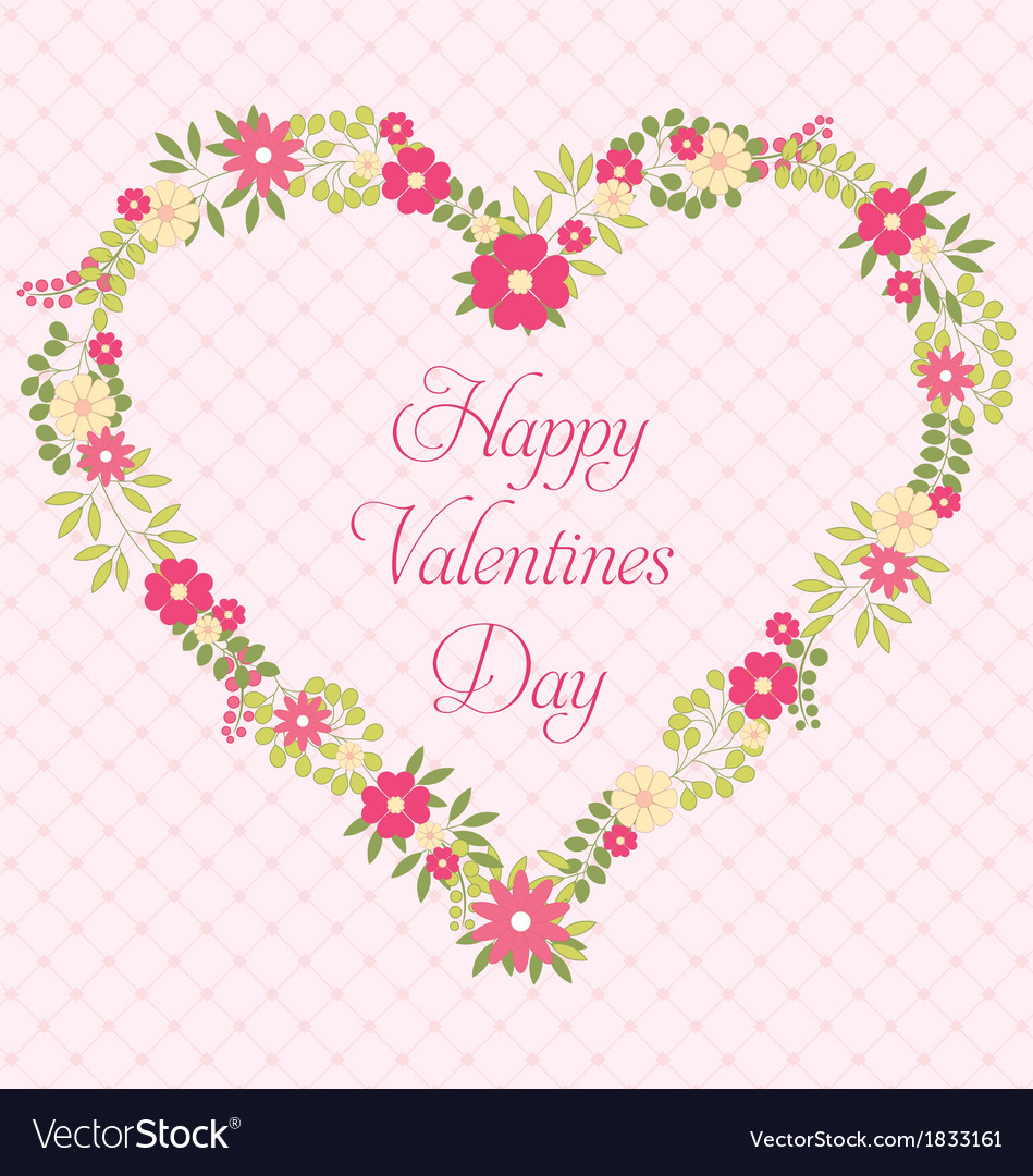 Happy valentines day greeting card with flowers in happy valentines day greeting card with flowers in vector image kristyandbryce Image collections