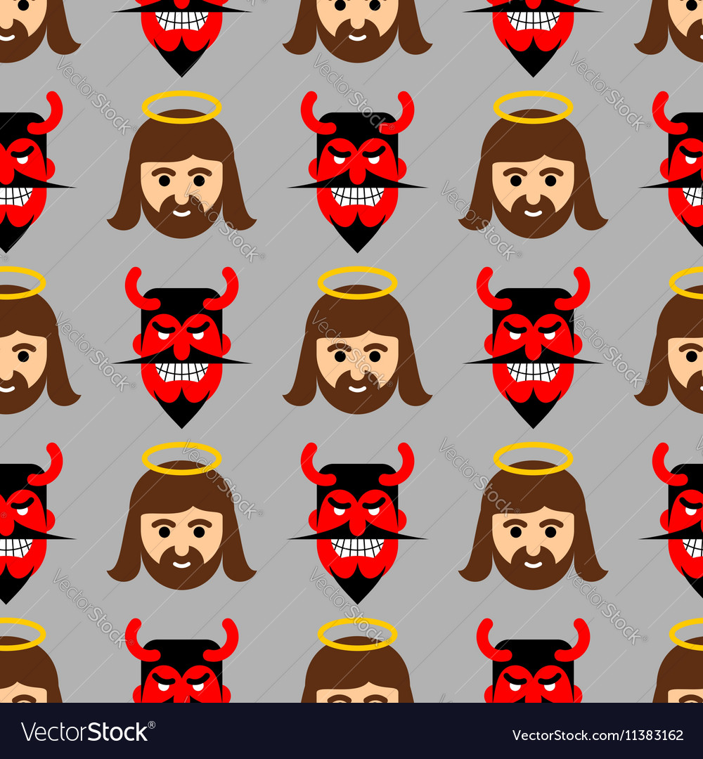 Jesus and Satan seamless pattern Christ and red vector image