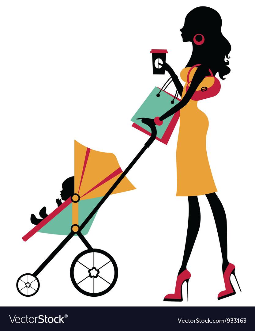 Fashion mom vector image