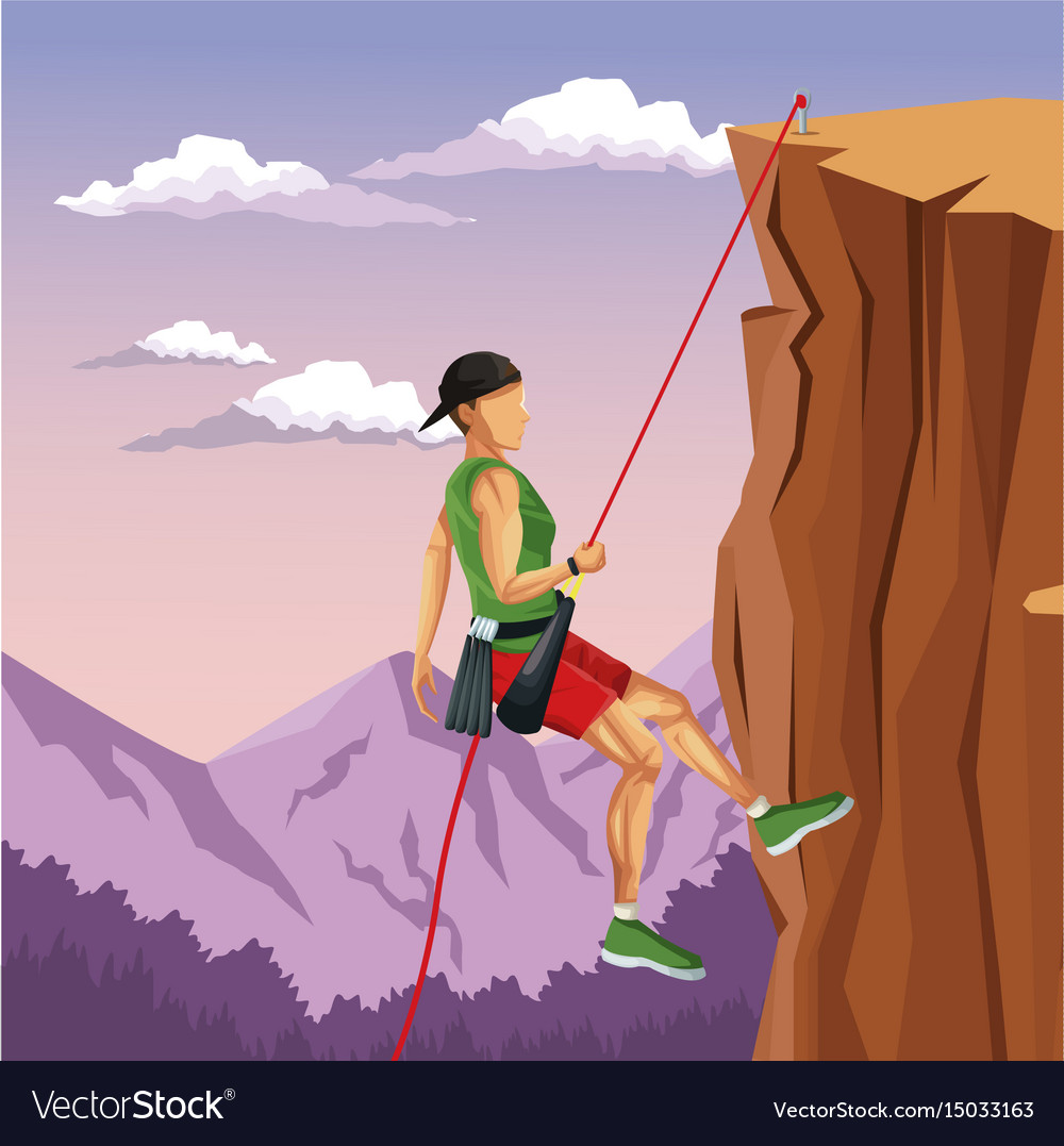 Scene landscape man mountain descent rock climbing vector image