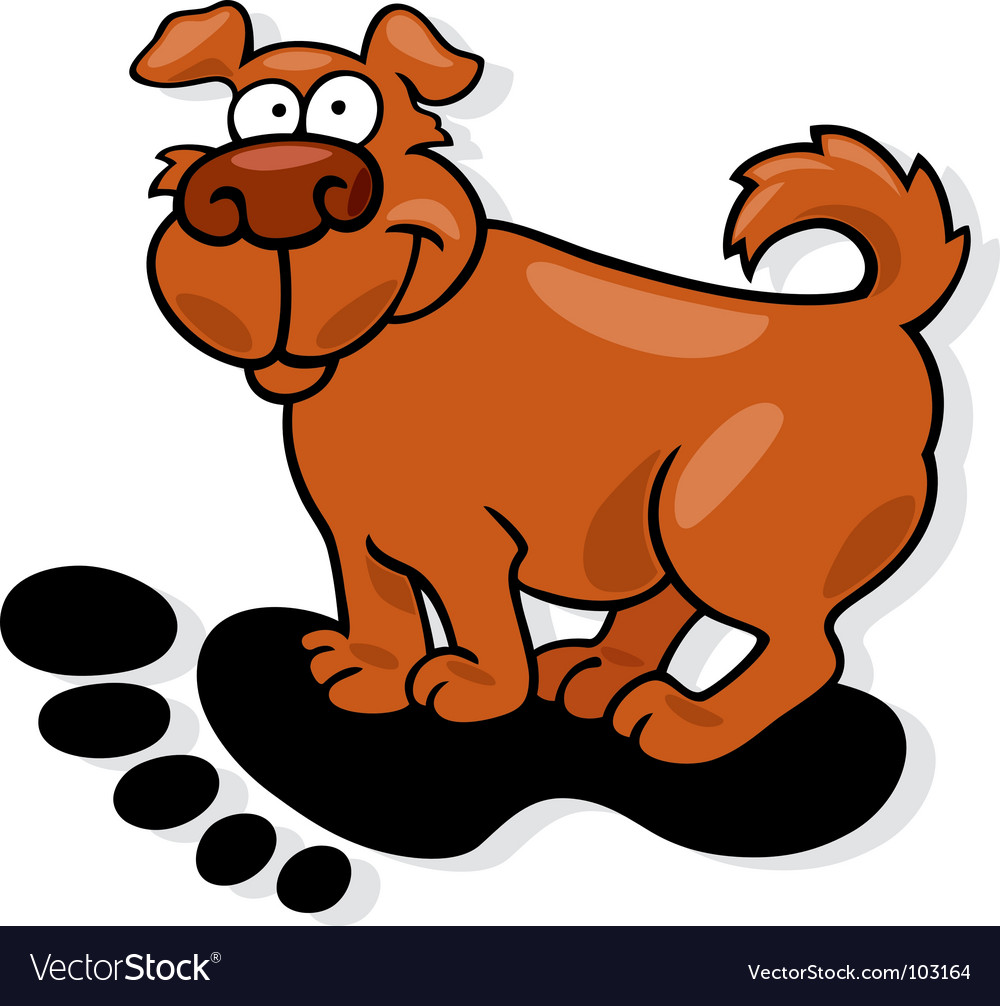 Dog on footprint vector image