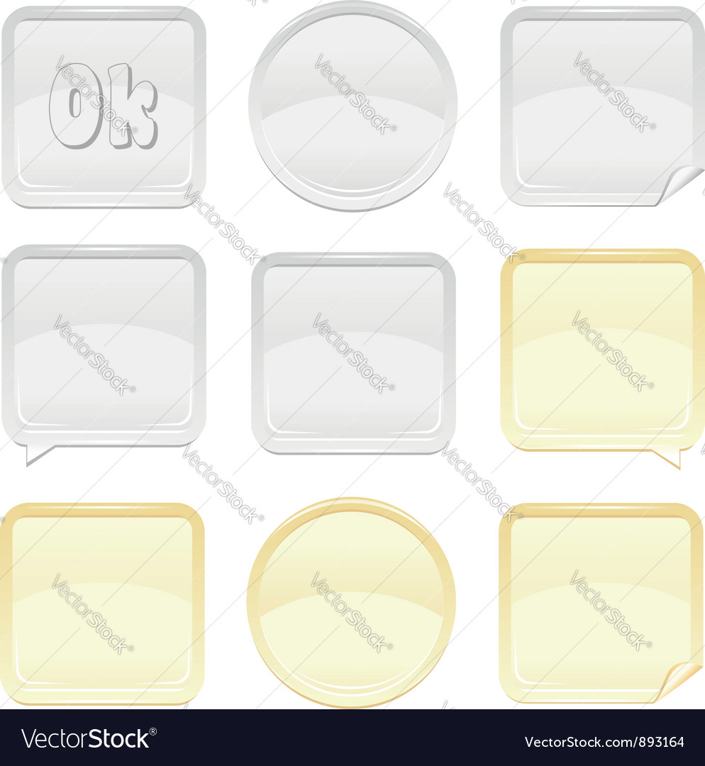 Gold and silver shiny button and sticker set vector image