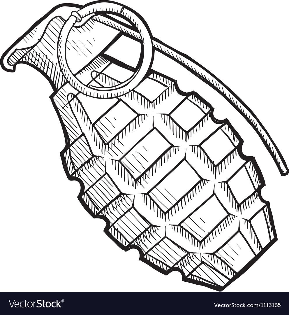 Doodle grenade vector image