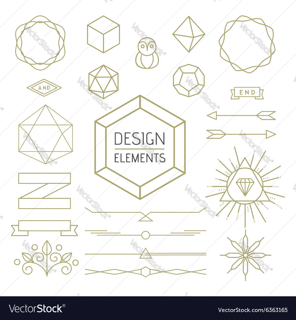 Design element set mono line art geometry symbol vector image design element set mono line art geometry symbol vector image buycottarizona