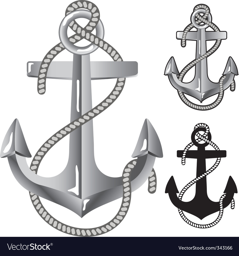 Silver anchor Vector Image
