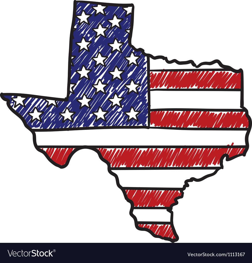 Doodle americana flag texas overlay vector image