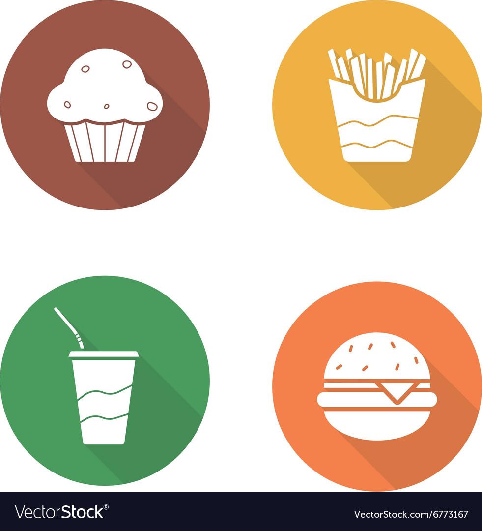 Fast food flat design icons set vector image
