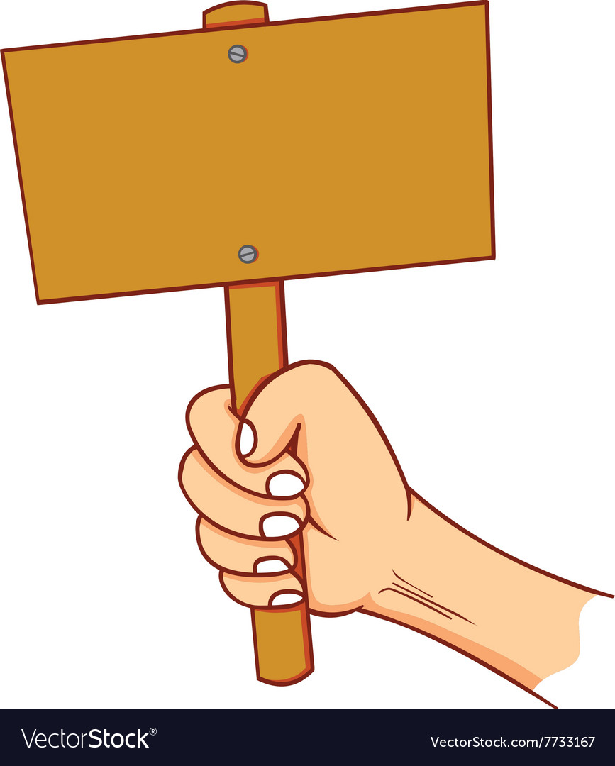 Hand holding blank sign vector image