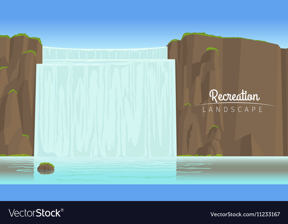Tourism landscape background with waterfall vector image