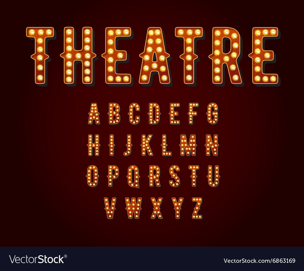 Casino or Broadway Signs style light bulb Alphabet vector image