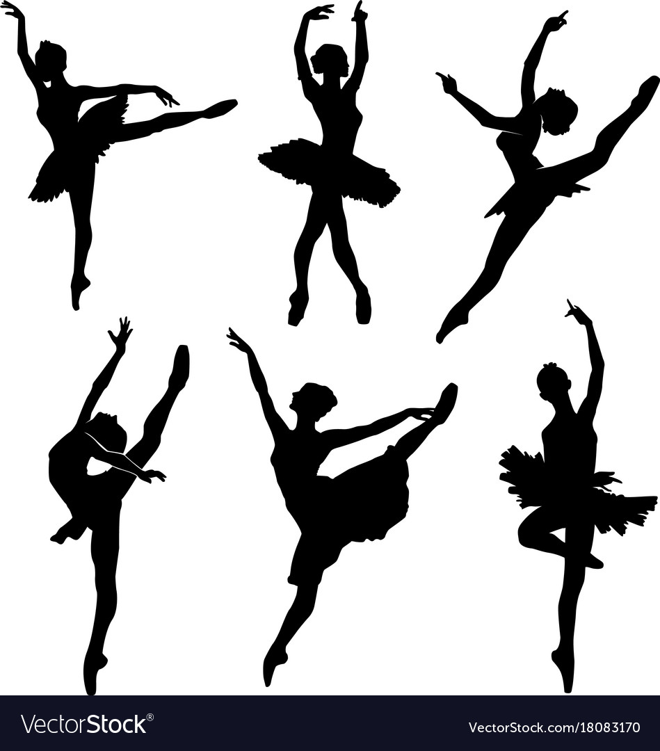 Ballet female dancers silhouettes images vector image