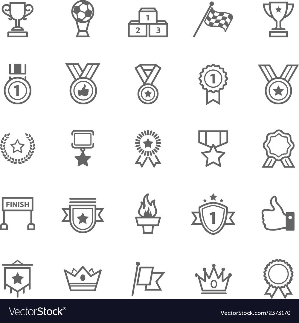 Set of Outline Stroke Award and Trophy Icons vector image