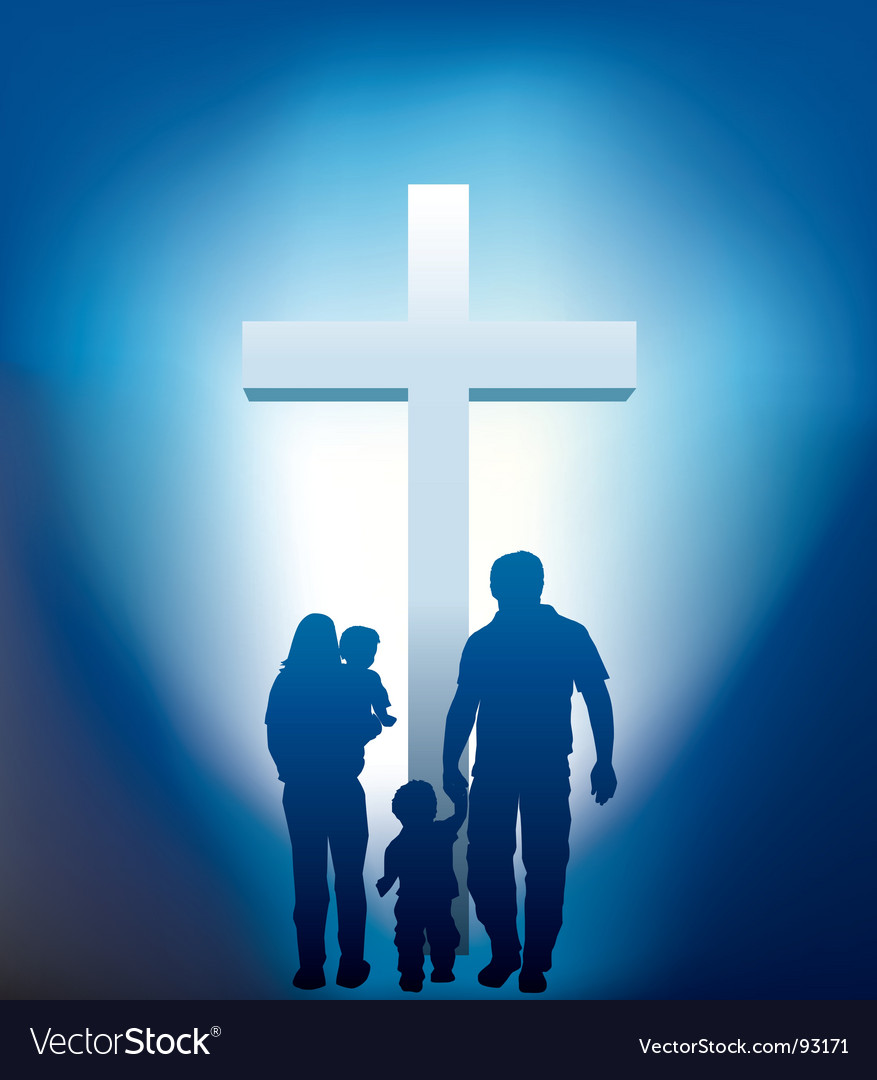 Christian family silhouette vector image