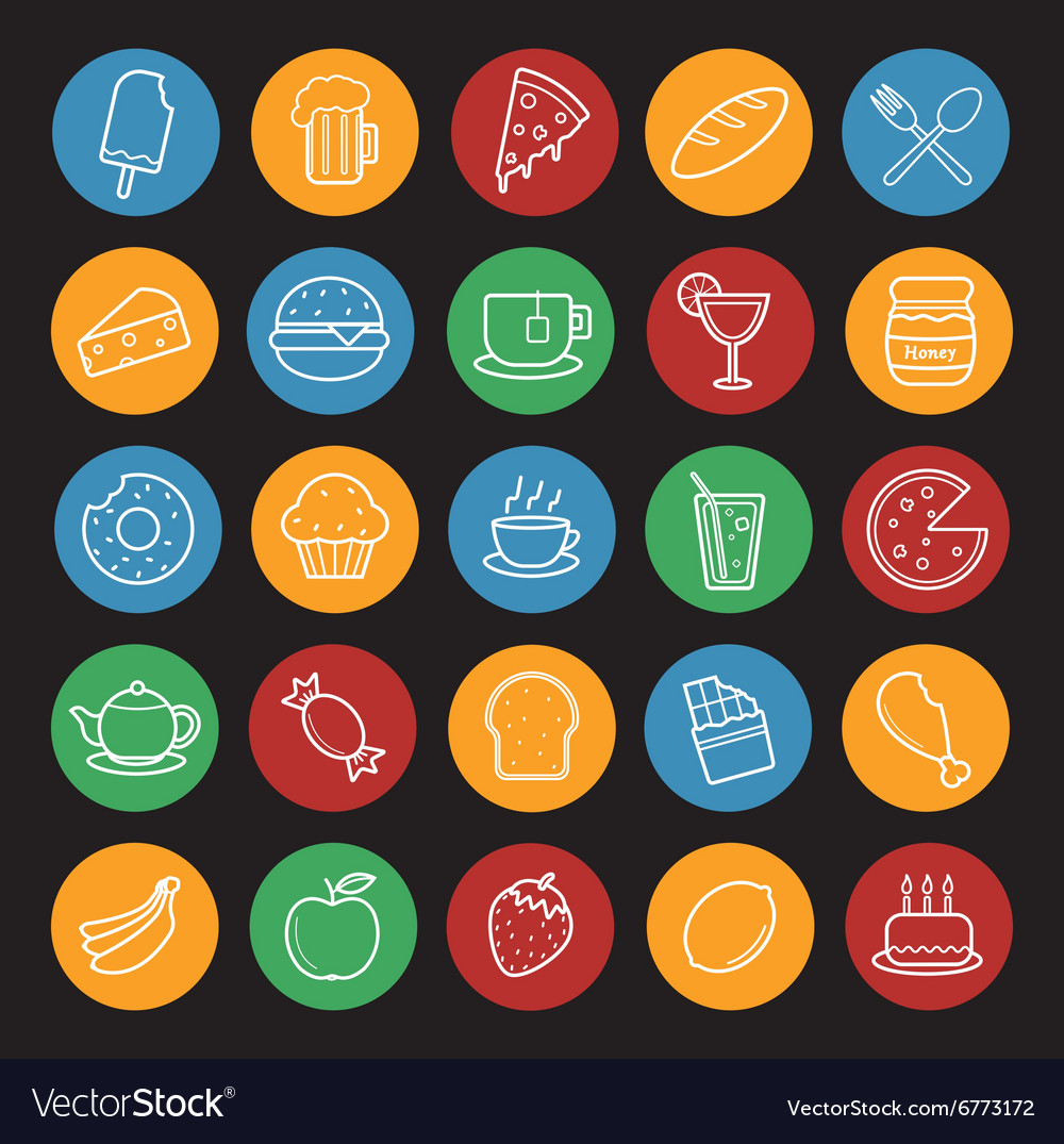 Food and drinks linear icons set Color vector image