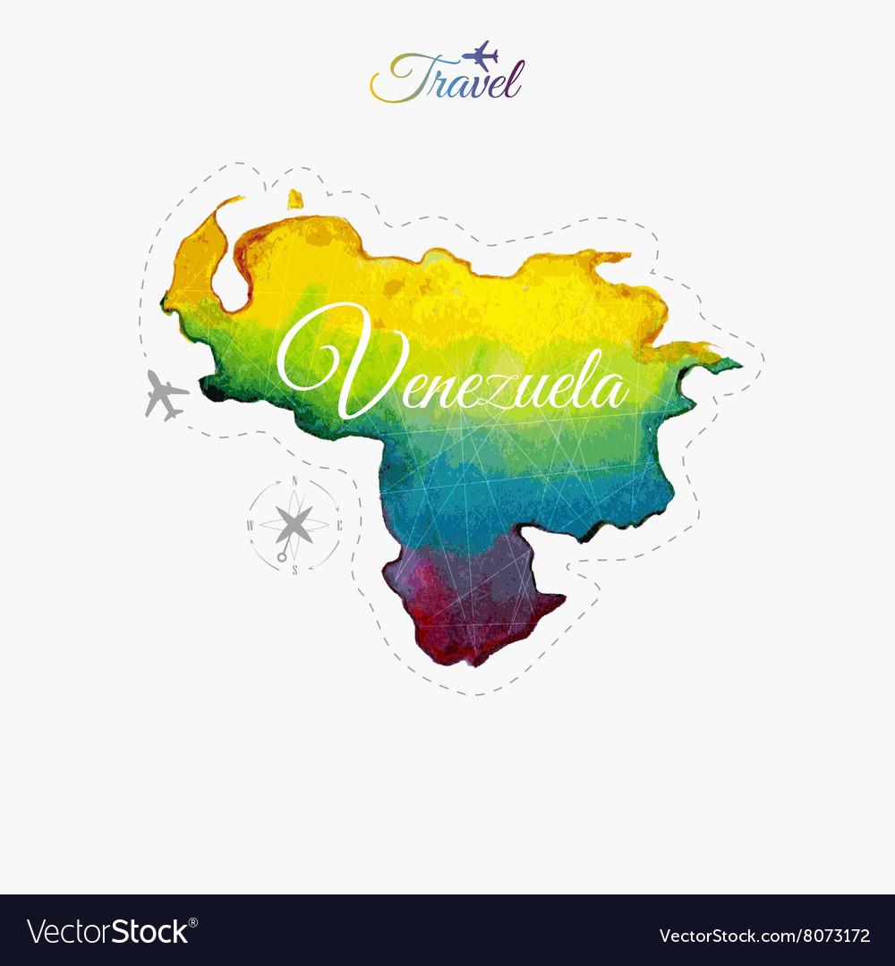 Travel Around The World Venezuela Watercolor Map Vector Image - Map of venezuela world