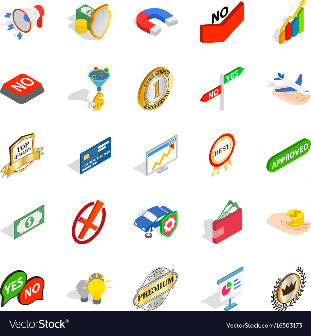 Guide icons set isometric style vector image