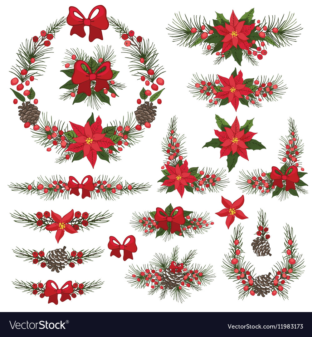 Merry Christmas and New Year Wreathgroup vector image