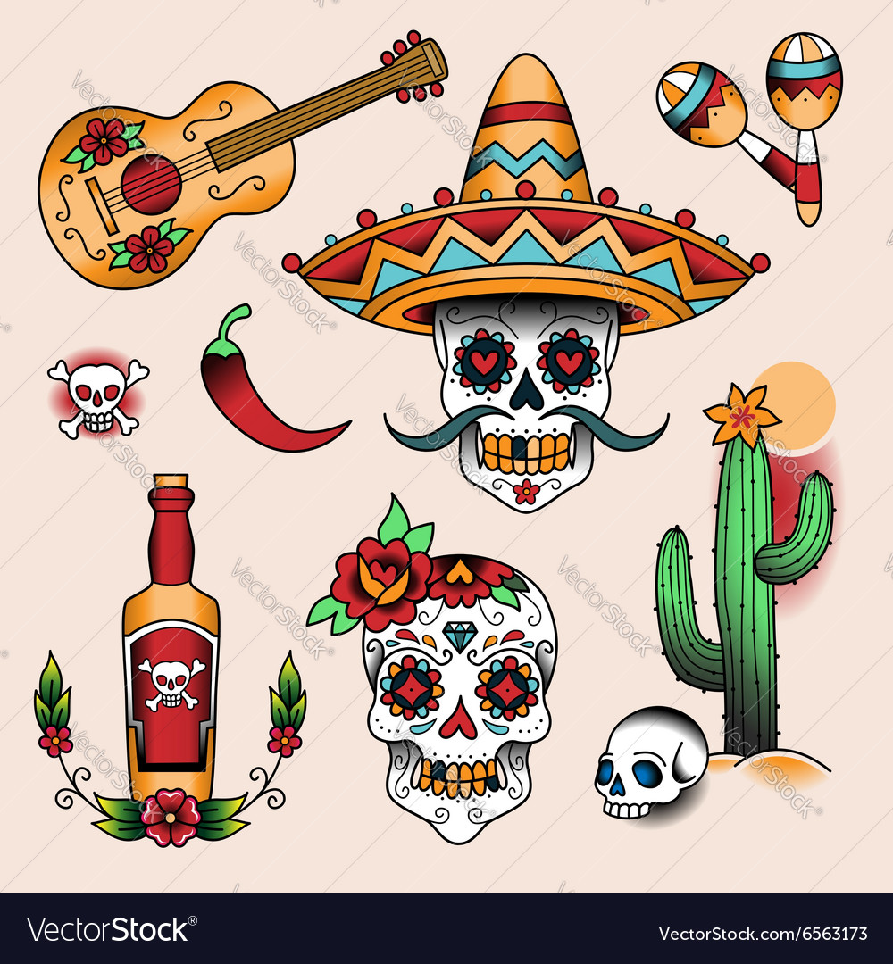 Tattoo set mexico vector image
