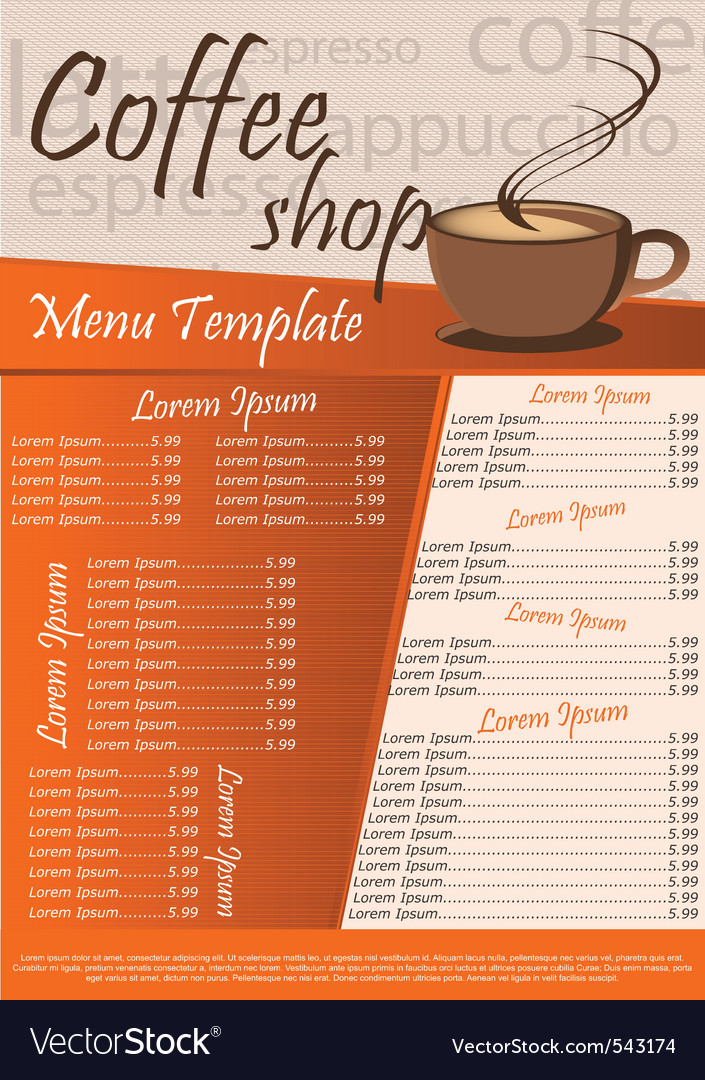 Coffee Shop Menu Royalty Free Vector Image  Vectorstock