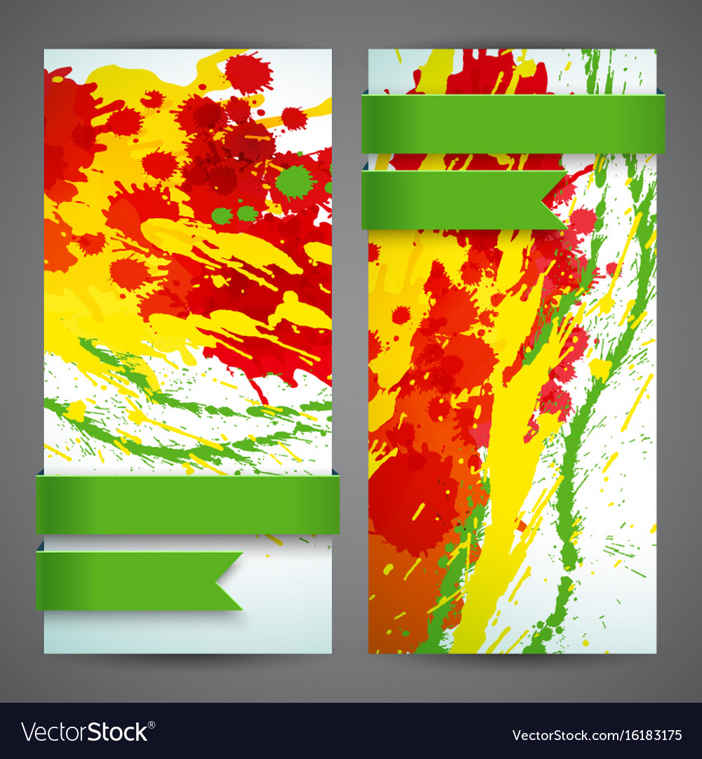 Abstract artistic colored banner set vector image