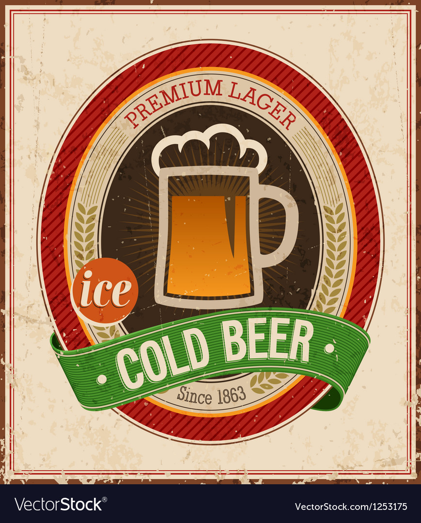 Cold beer color vector image