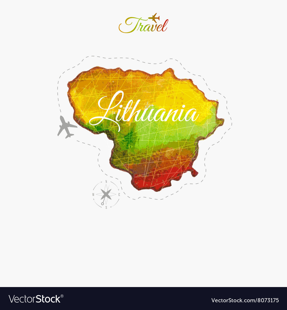 Travel around the world Lithuania Watercolor map Vector Image