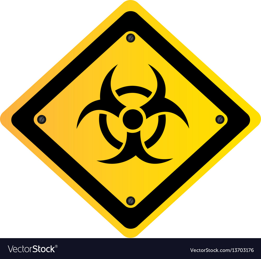 Metal biohazard warning sign icon vector image