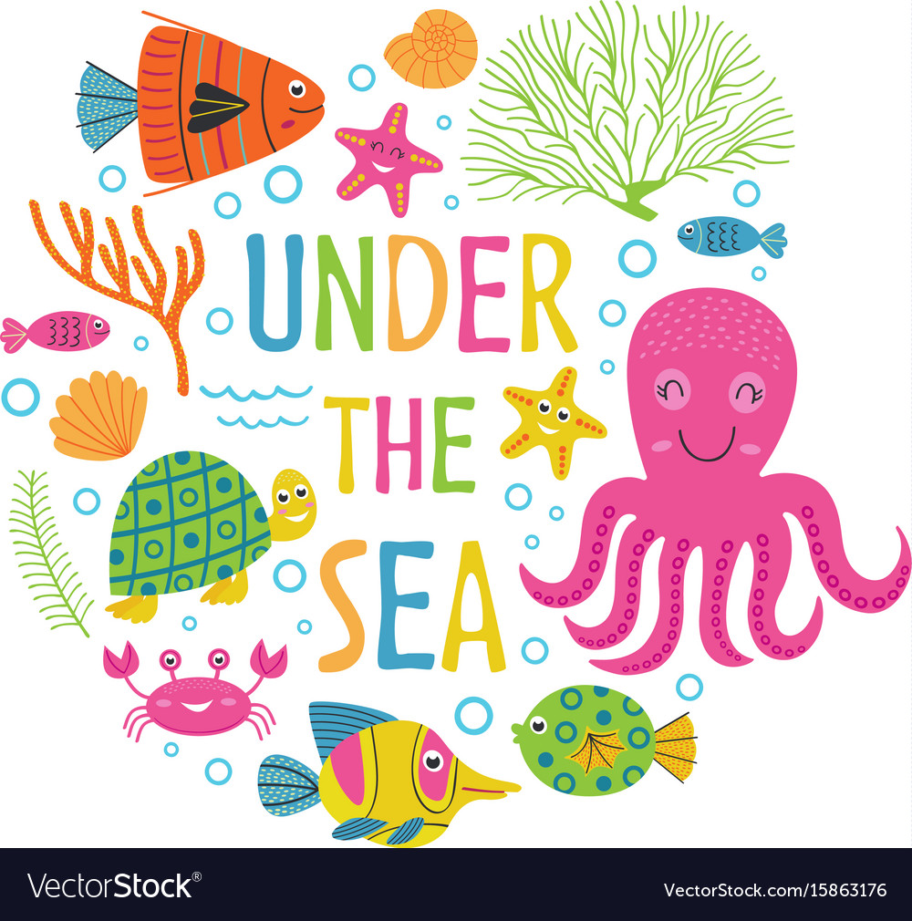 Under the sea card with marine animals vector image