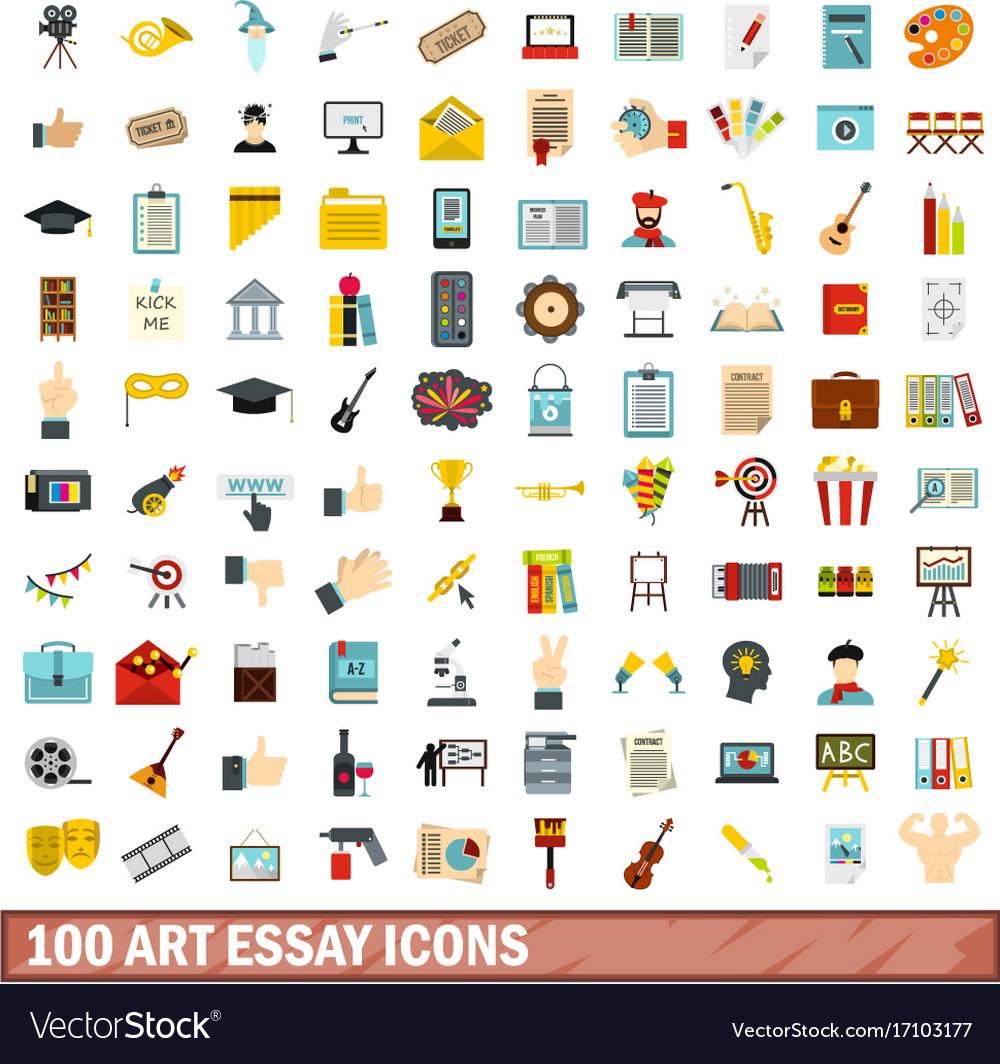 art essay icons set flat style royalty vector image 100 art essay icons set flat style vector image