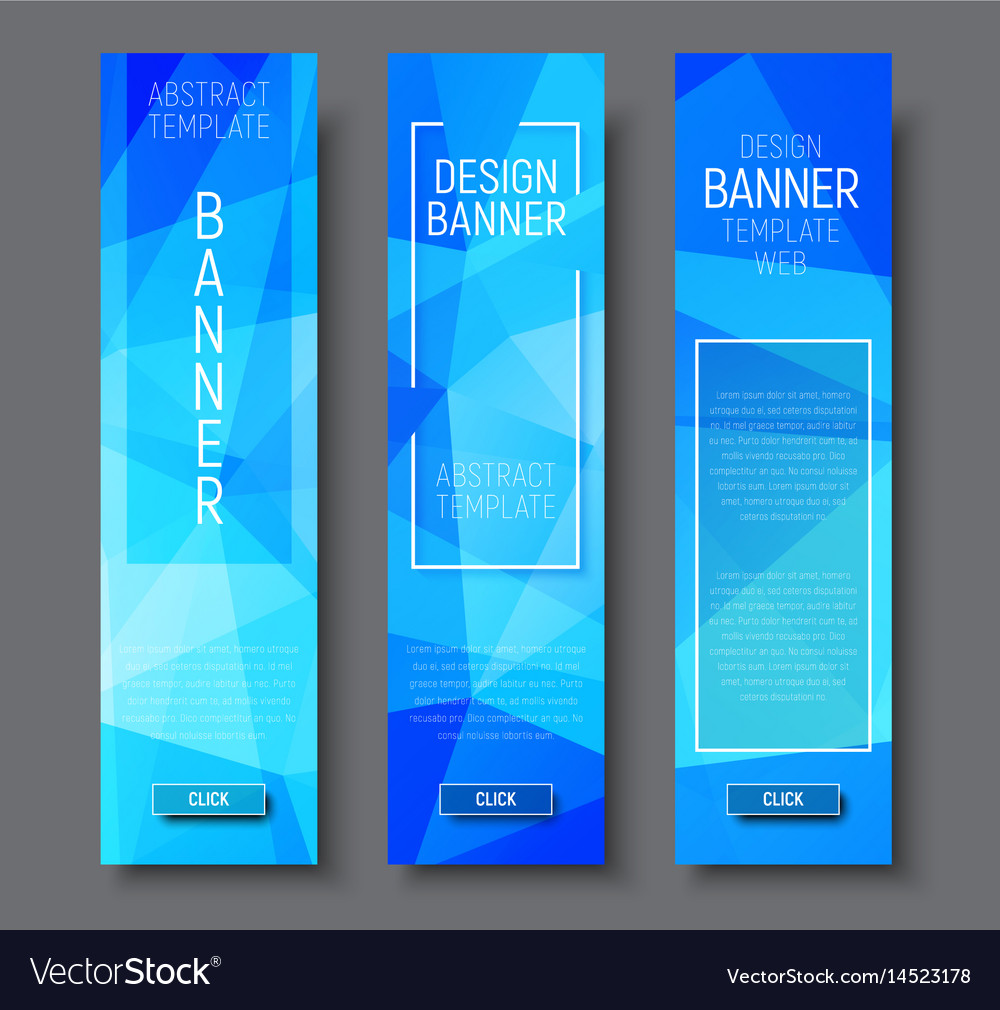 Design vertical banners with polygonal blue vector image
