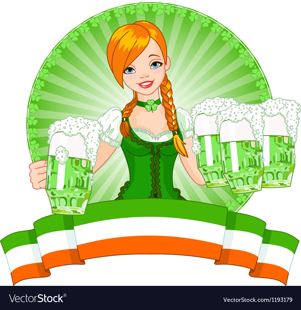 St Patrick Day girl vector image