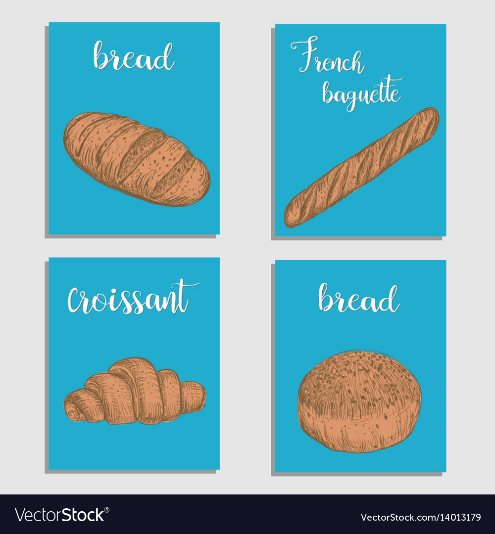 Bread baking flour products set of card vector image