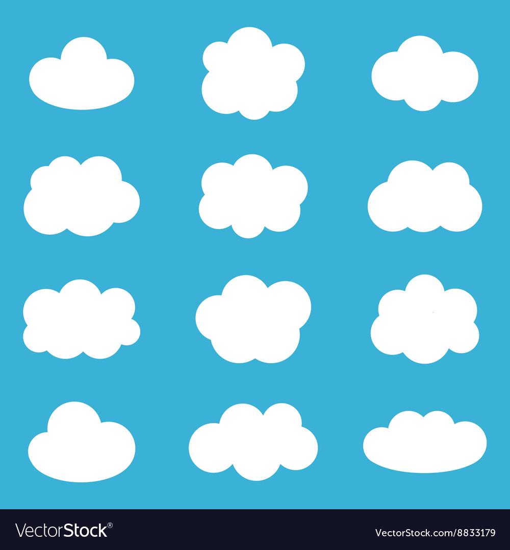 Flat design cartoon cute cloud set collection vector image