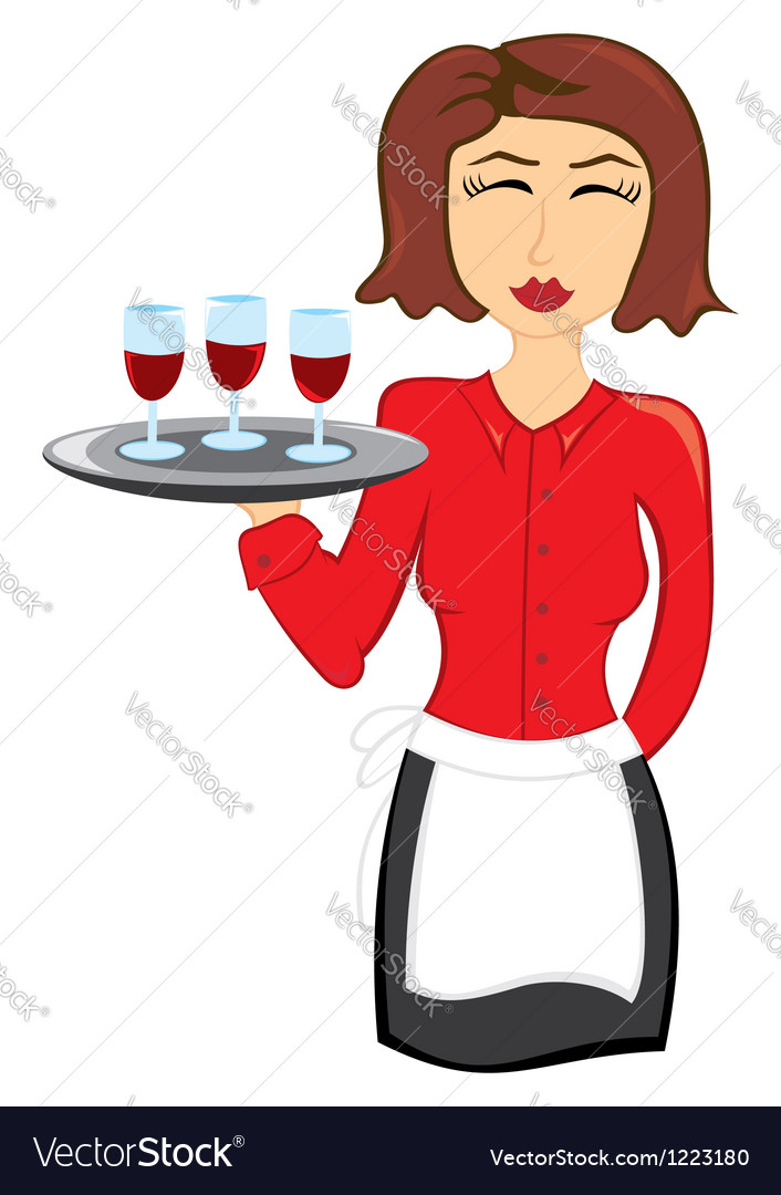 Waitress with wine vector image