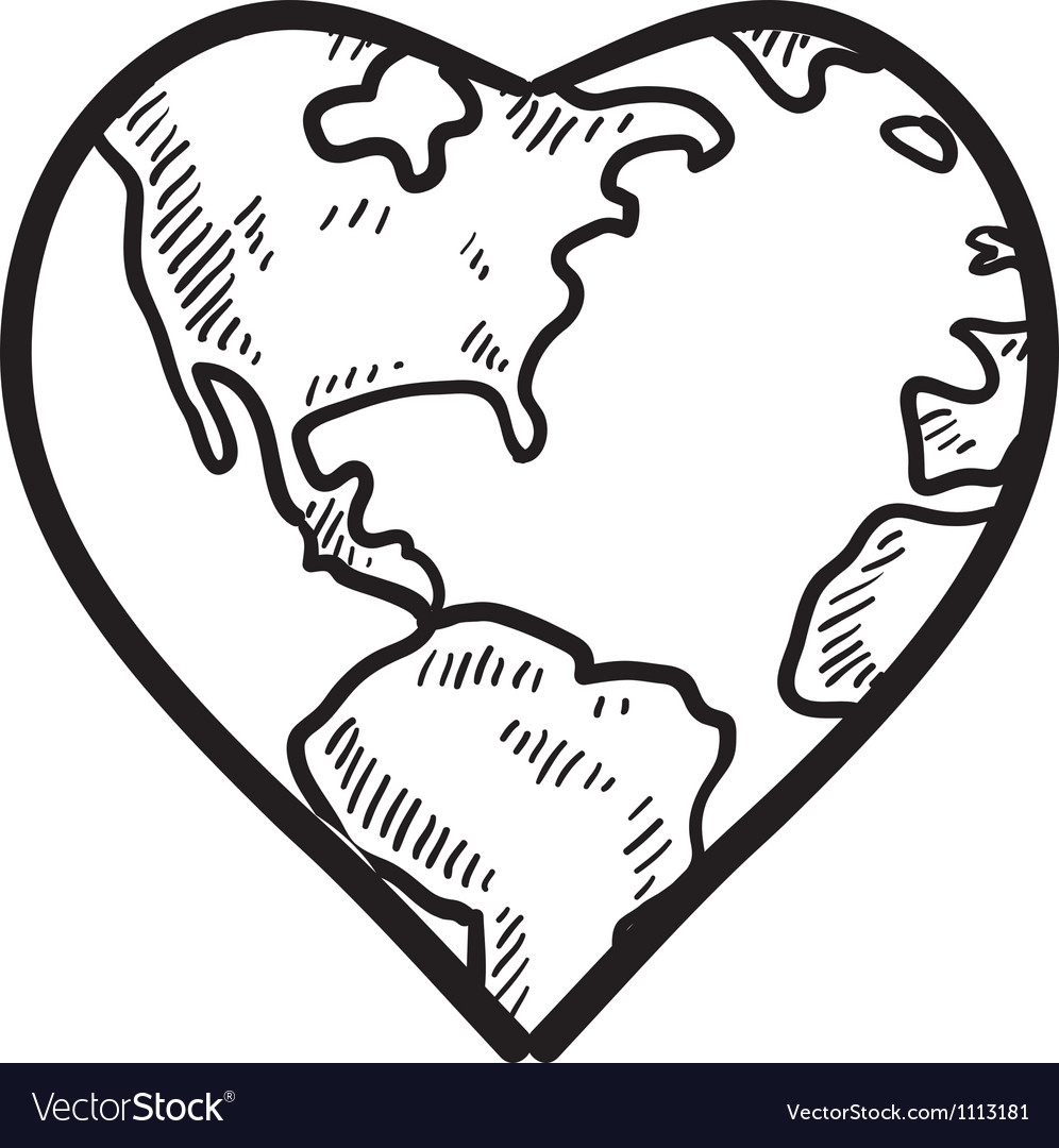 Doodle earth day heart vector image