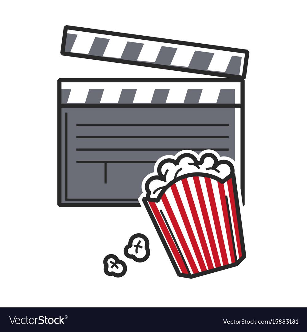 Popcorn and movie clapper usa america tourist vector image