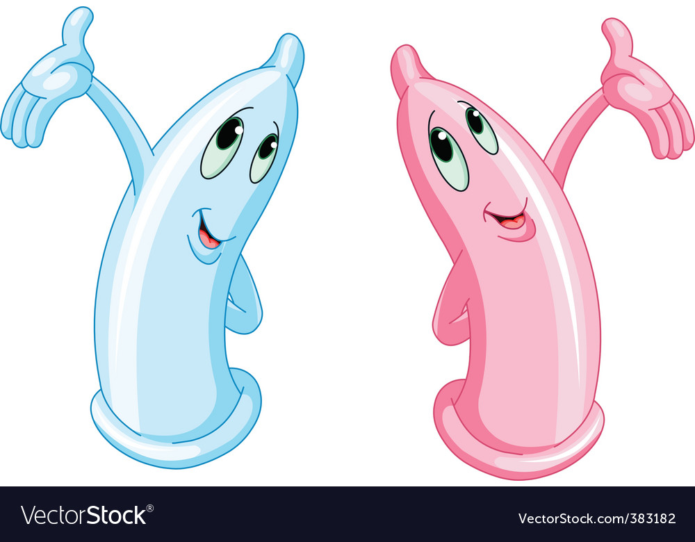 Two funny condoms vector image