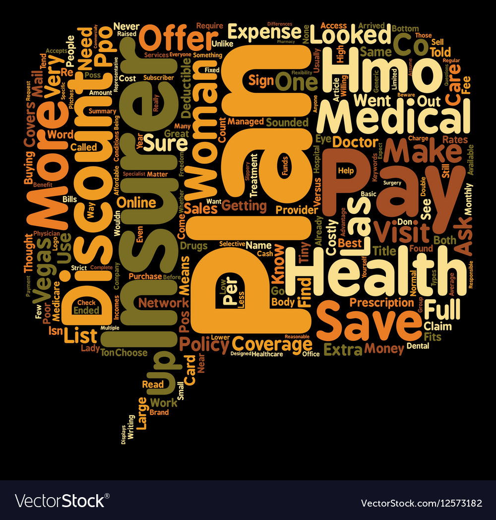Discount Plans versus Health Insurance text vector image
