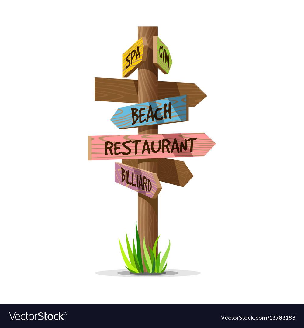 Colored wooden arrow resort signboard vector image