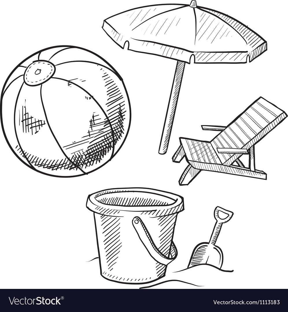 Doodle Beach Ball Bucket Shovel Chair Umbrella Vector Image