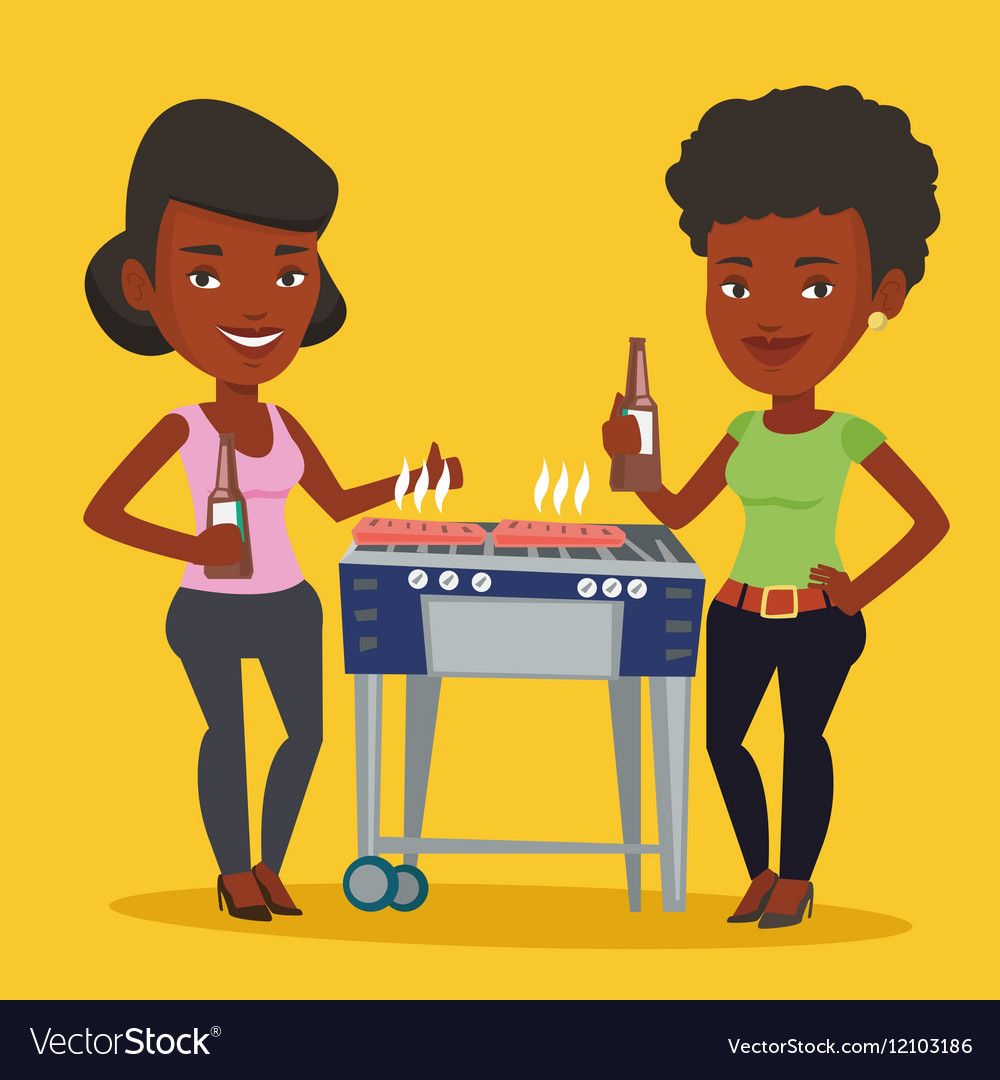 Friends having fun at barbecue party vector image