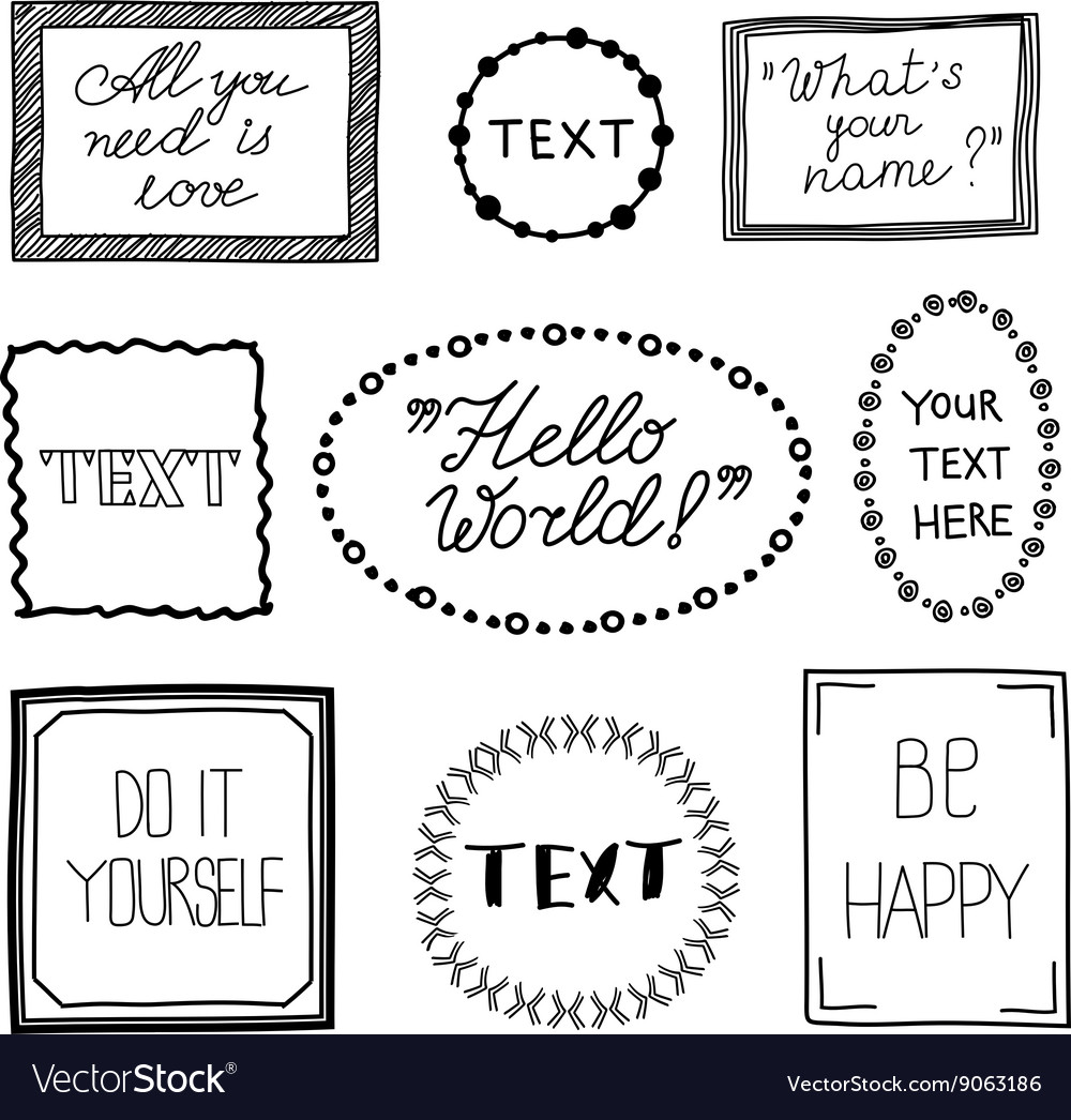 Hand drawn quote vintage frames Doodle vector image